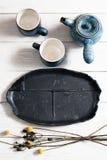 Sistema de la cerámica de los platos para la ceremonia de té Foto de archivo libre de regalías