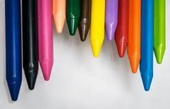 Sistema de la cera de los creyones de los lápices Fotografía de archivo