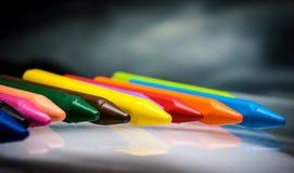 Sistema de la cera de los creyones de los lápices Fotos de archivo libres de regalías