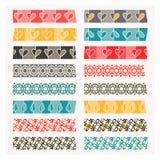 Sistema de la cinta del washi Rayas negras, del gris y del color Foto de archivo libre de regalías