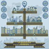 Sistema de la ciudad de la infraestructura de los elementos, infographics del vector ilustración del vector