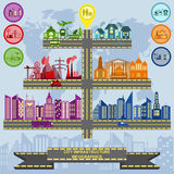 Sistema de la ciudad de la infraestructura de los elementos, infographics del vector libre illustration