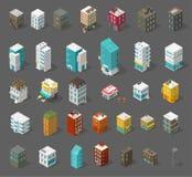 Sistema de la ciudad de los edificios Visi?n superior isom?trica Casas de ciudad separadas del vector Café, oficinas y banco de l libre illustration