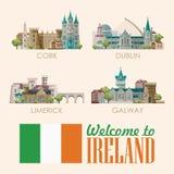 Sistema de la ciudad Tarjeta plana con las señales, castillo irlandés, campos verdes del diseño del vector de Irlanda stock de ilustración