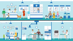 Sistema de la clínica del veterinario stock de ilustración