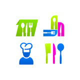 Sistema de la cocina del cocinero coloreado del menú de la muestra de los iconos Fotos de archivo libres de regalías