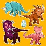 Sistema de la colección de la etiqueta engomada de los dinosaurios del rinoceronte del Triceratops Fotos de archivo