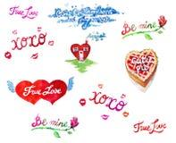 Sistema de la colección de la ilustración de la acuarela de las tarjetas del día de San Valentín Fotos de archivo libres de regalías