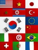 Sistema de la colección de las banderas Foto de archivo libre de regalías