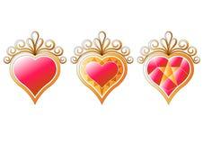 Sistema de la colección de los corazones Fotos de archivo libres de regalías