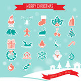Sistema de la colección de los iconos de la Navidad Foto de archivo