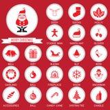 Sistema de la colección de los iconos de la Navidad Fotos de archivo