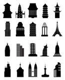 Sistema de la colección de los iconos del edificio Fotografía de archivo libre de regalías