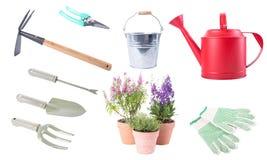 Sistema de la colección de los utensilios de jardinería aislado Fotografía de archivo