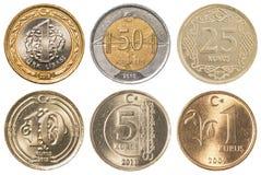 Sistema de la colección de monedas de la lira turca Foto de archivo libre de regalías
