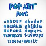 Sistema de la colección del alfabeto del estilo de los tebeos del arte pop letras capitales y pequeñas con números Foto de archivo