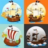 Sistema de la colección del barco pirata Imagen de archivo libre de regalías