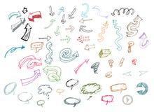 Sistema de la colección dibujada mano de las flechas. Imagen de archivo