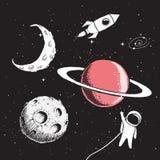 Sistema de la colección de elementos del espacio Imágenes de archivo libres de regalías