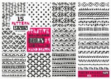 Sistema de la colección geométrica primitiva de 8 modelos Fondos inconsútiles tribales Impresiones de moda modernas Ilustración d libre illustration