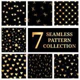 Sistema de la colección inconsútil del modelo del oro 7 La estrella del oro, triángulos, corazones del oro, oro scissors, Hallowe ilustración del vector