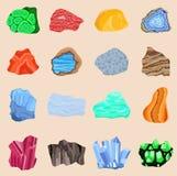 Sistema de la colección de las piedras semi preciosas de las piedras preciosas y de la piedra mineral aisladas Piedra preciosa br Fotos de archivo libres de regalías