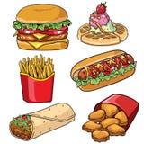 Sistema de la colección de los alimentos de preparación rápida ilustración del vector