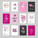 Sistema de la colección de los elementos de la tipografía del amor del bosquejo de Valentine Day Greeting Cards Design del garaba Imagen de archivo