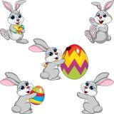 Sistema de la colección de Pascua del conejo de la historieta Imágenes de archivo libres de regalías