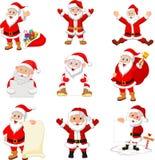 Sistema de la colección de Santa Claus de la historieta stock de ilustración