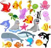 Sistema de la colección de la vida marina de la historieta ilustración del vector