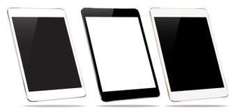 Sistema de la colección de la tableta de la maqueta en el diseño blanco del vector Fotos de archivo libres de regalías