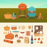 Sistema de la comida campestre del verano Imagen de archivo libre de regalías