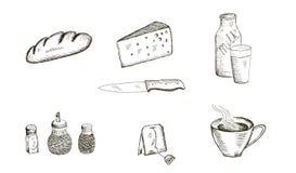 Sistema de la comida de bosquejos del vector ilustración del vector