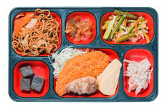 Sistema de la comida de Japón del buñuelo de la carne Imagen de archivo libre de regalías