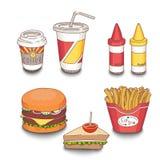Sistema de la comida de la comida rápida de la historieta coloreada con las sombras Foto de archivo libre de regalías