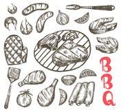 Sistema de la comida del bosquejo de la parrilla La comida del Bbq es salchichas, costillas, camarón, salmón, filete, verduras, p Imágenes de archivo libres de regalías