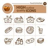 Sistema de la comida y de la cocina Foto de archivo libre de regalías