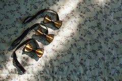 Sistema de la corbata de lazo elegante tres en una cama en la luz de la sol Concepto de la boda Accesorios del novio ilustracione Fotos de archivo