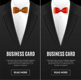 Sistema de la corbata de lazo de la tarjeta de visita Vector Ilustración del Vector