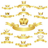 Sistema de la corona de oro del vector con la bandera de las curvas Fotografía de archivo