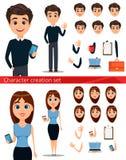 Sistema de la creación de los personajes de dibujos animados del hombre de negocios y de la mujer de negocios stock de ilustración