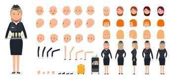 Sistema de la creación del carácter de la mujer La azafata, asistente de vuelo ilustración del vector