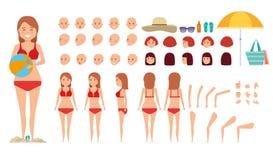 Sistema de la creación del carácter de la mujer Sistema diverso de la muchacha el día de fiesta Conjunto de la playa ilustración del vector