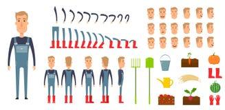 Sistema de la creación del carácter del granjero Iconos con diversos tipos de caras, emociones, ropa Frente, lado, varón trasero  Imagen de archivo libre de regalías