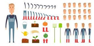 Sistema de la creación del carácter del granjero Iconos con diversos tipos de caras, emociones, ropa Frente, lado, varón trasero  Fotos de archivo