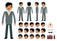 Sistema de la creación del carácter del hombre de negocios elegante stock de ilustración
