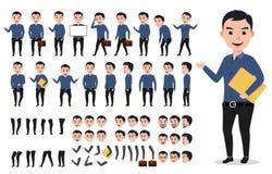Sistema de la creación del carácter del vector del hombre de negocios o del varón Hombre profesional que sostiene la carpeta libre illustration