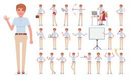 Sistema de la creación del carácter de la mujer de negocios Construya su propio diseño Ejemplo infographic del plano-estilo de la stock de ilustración