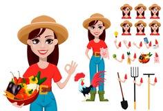 Sistema de la creación del personaje de dibujos animados del granjero de la mujer stock de ilustración